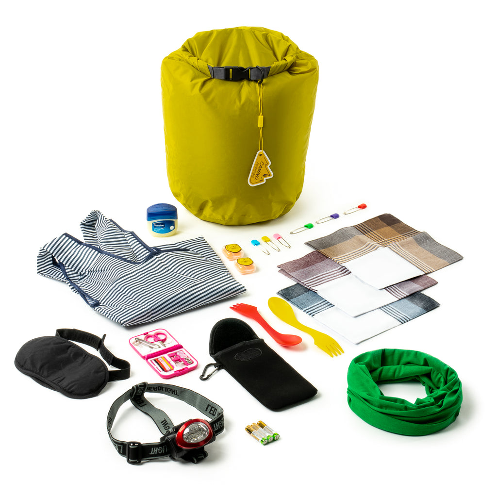 Basic 20L Dry Bag Kit with hiking essentials