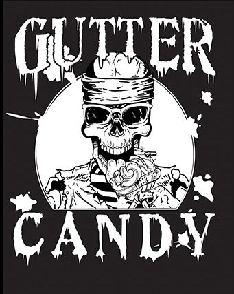 Gutter Candy Skull Splatter Logo T-Shirt (Black & White, Women's Cut)