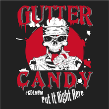 Load image into Gallery viewer, Gutter Candy Skull Splatter Logo T-Shirt (Red & White on Black) Womens Cut