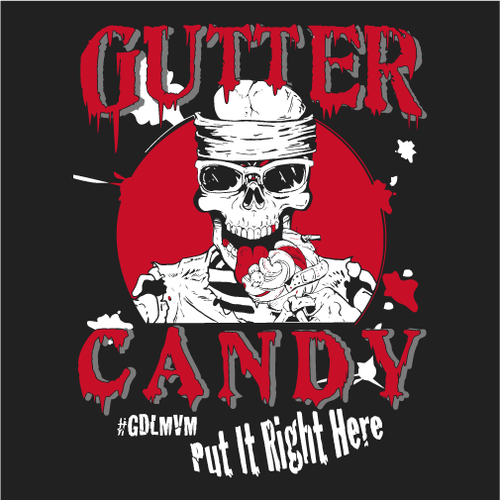 Gutter Candy Skull Splatter Logo T-Shirt (Red & White on Black) Womens Cut