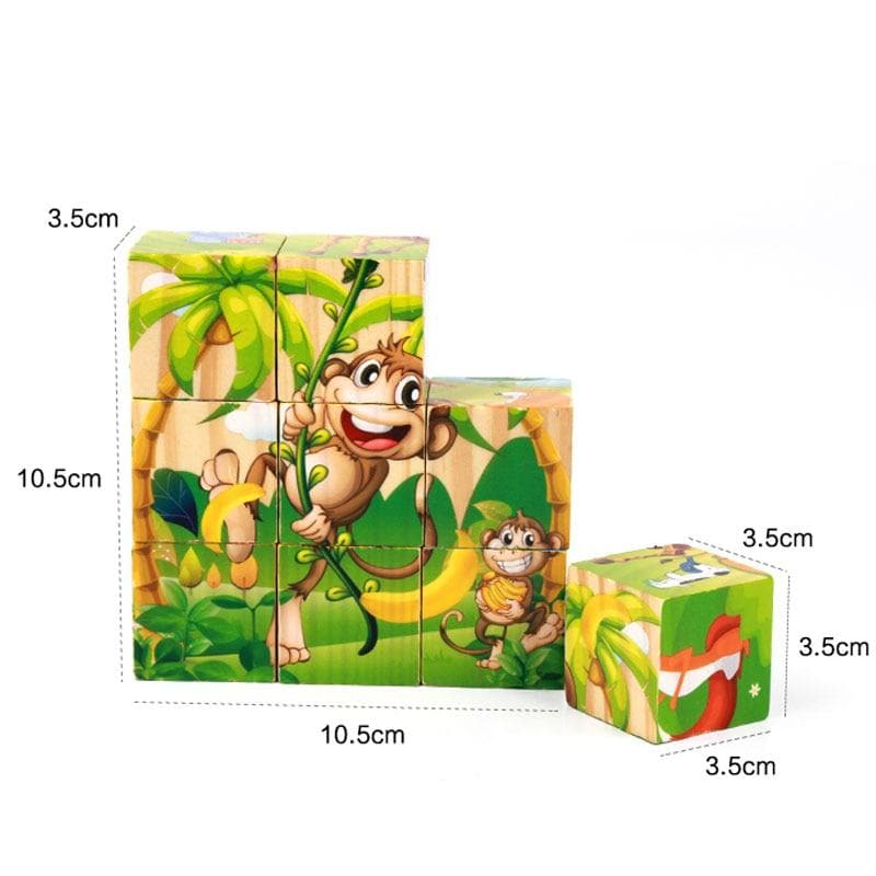 6-in-1 Wooden Animals 3D Puzzle