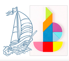 Load image into Gallery viewer, Puzzle the Card & Learn to Read Tangram Puzzle