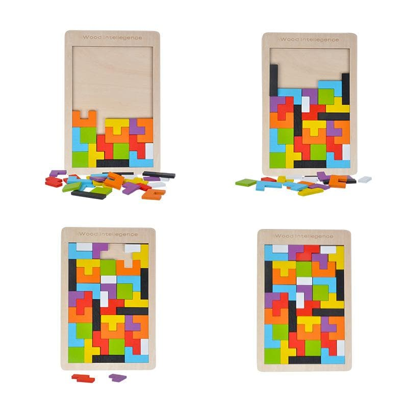 2-in-1: Wooden Tetris Board & Shapes Puzzle