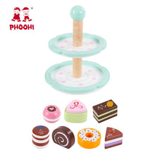Load image into Gallery viewer, Wooden Two Tiered Cake Stand Toy