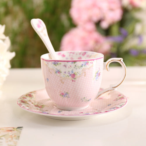 Pink Bone China Teacup & Saucer With Matching Stir Spoon