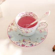 Load image into Gallery viewer, Blue Bone China Teacup & Saucer With Matching Stir Spoon
