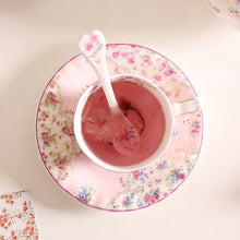 Load image into Gallery viewer, Pink Bone China Teacup & Saucer With Matching Stir Spoon