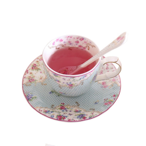 Blue Bone China Teacup & Saucer With Matching Stir Spoon