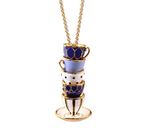 Mismatched Teacups Pendant Necklace