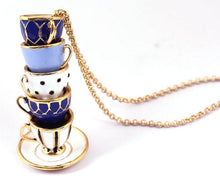 Load image into Gallery viewer, Mismatched Teacups Pendant Necklace