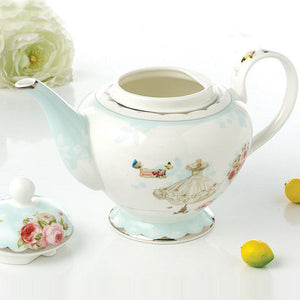 Elegant Blue Dress Teapot