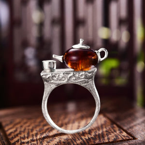 Natural Amber Teapot & Teacup Ring