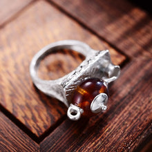 Load image into Gallery viewer, Natural Amber Teapot & Teacup Ring