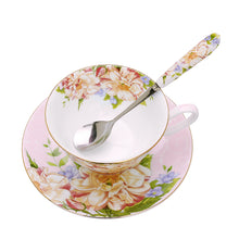 Load image into Gallery viewer, Gorgeous 3 Piece Teacup, Saucer & Spoon Set in Pink