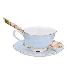 Load image into Gallery viewer, Gorgeous 3 Piece Teacup, Saucer & Spoon Set in Blue
