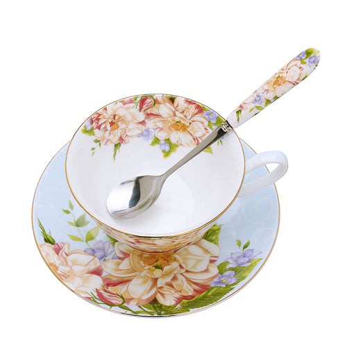 Gorgeous 3 Piece Teacup, Saucer & Spoon Set in Blue