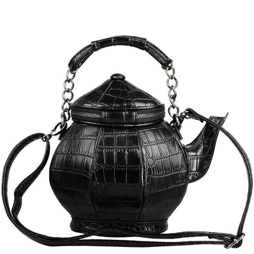 Black Leather Teapot Shaped Purse