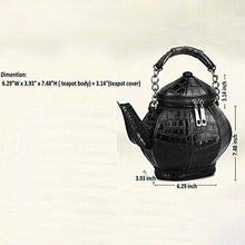 Load image into Gallery viewer, Black Leather Teapot Shaped Purse