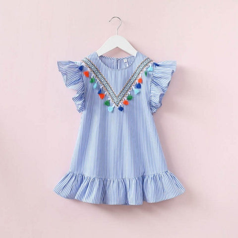 New Kids Baby Girls Dress Tassel Ruffles Sundress Party Casual Short Sleeve Princess Dresses Clothes