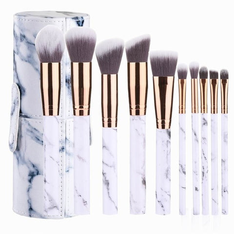 Professional 10pcs Marble Makeup Brushes Set Soft Foundation Powder Eyeshadow Brush Beauty Marble Make Up Tools with Cylinder