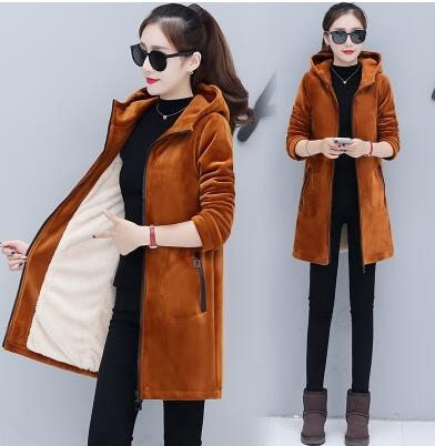 Hoodies for girls Autumn winter 2019 woman coat Add wool Warm jacket Pleuche Korean style hoodies Thick B4205
