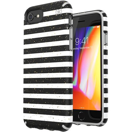 Speck Apple iPhone 8/7/6s/6 Presidio Inked Case - Striped Gold Speckled/Marble Gray