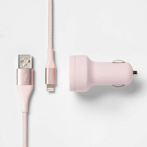 heyday™ 2-Port 3.1 A Car Charger (with 6' Braided Lightning to USB-A Cable) - Pink/Rose Gold