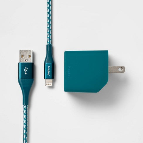 heyday™ 2-Port Wall Charger USB-A & USB-C (with 6' Cable) - Dark Teal/White
