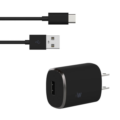 Just Wireless 2.4A Single USB Wall Charger (with USB-C Cable) - Black
