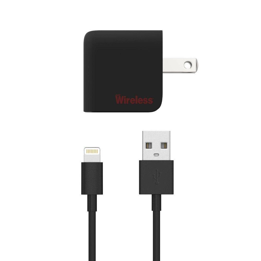 Just Wireless Single USB 2.4A Wall Charger (with Apple Lightning Cable) - Black