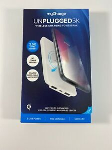 myCharge Unplugged5K Wireless Charger + Power Bank - White