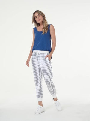 Clé Camila Pants-White and Indigo Stripe