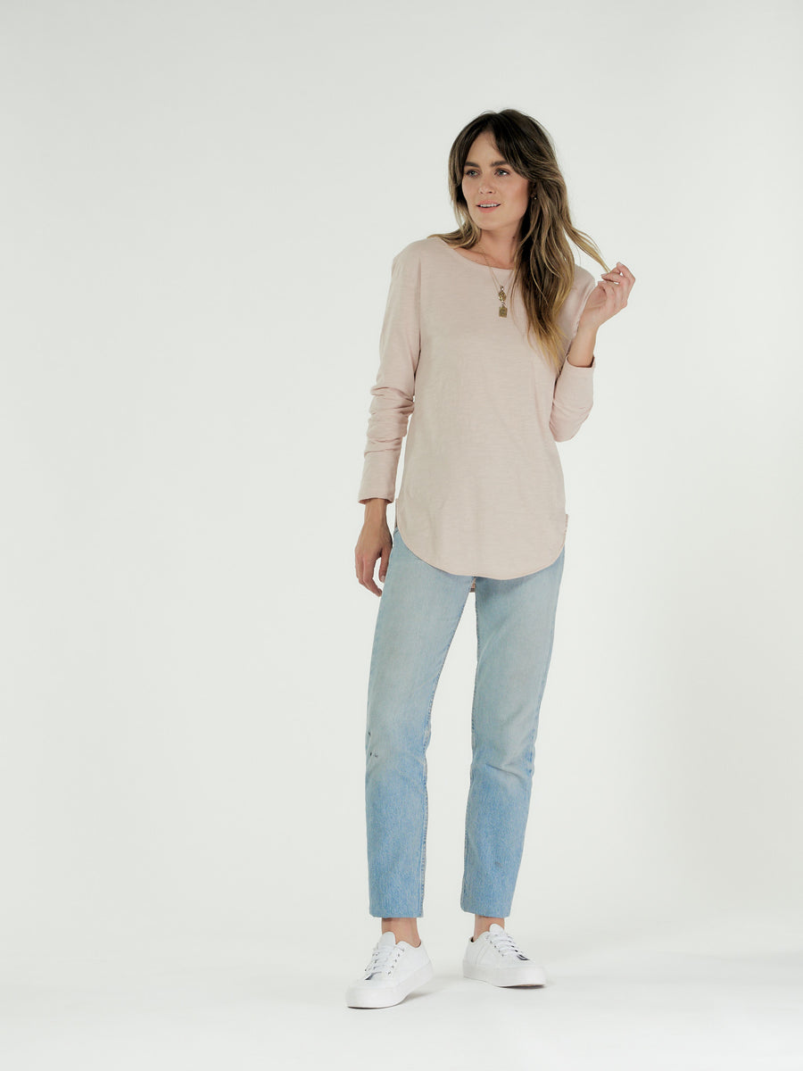 CLÉ Layla Long Sleeve Tee-Blush