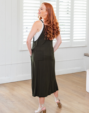 Apron Dress-Khaki