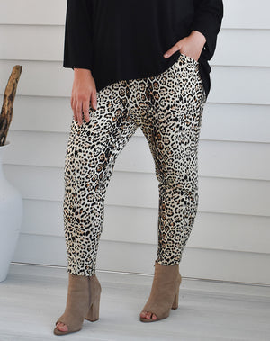 Slouch Pant-Tan Animal Print