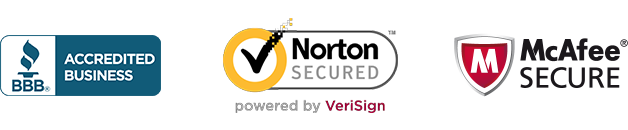 Trust Badge - BBB Accredited Business, Norton Secure, McAfee Secure