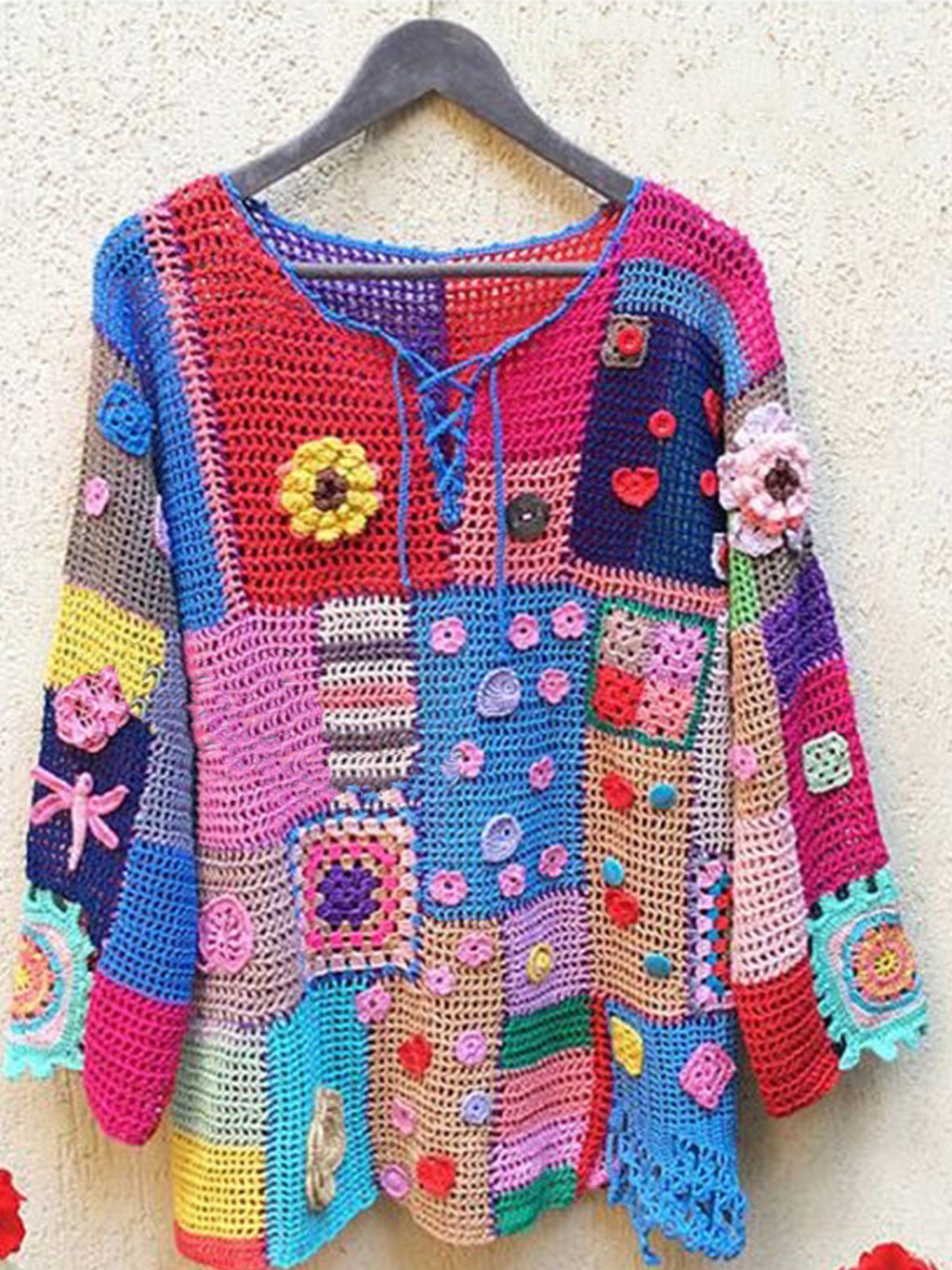 MMulticolor Knitted Tribal Crew Neck Long Sleeve Sweater