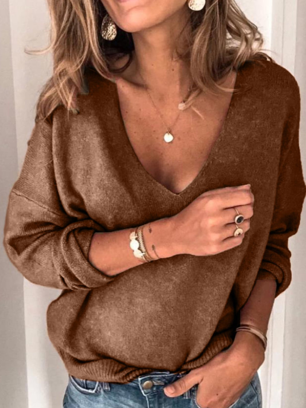 Plus Size Casual Solid V Neck Long Sleeve Sweater Plus Size Clothing
