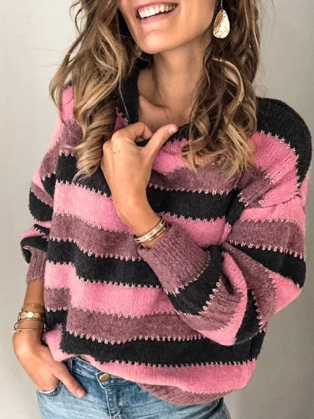 Plus Size Long Sleeve Crew Neck Striped Printed Casual Sweater
