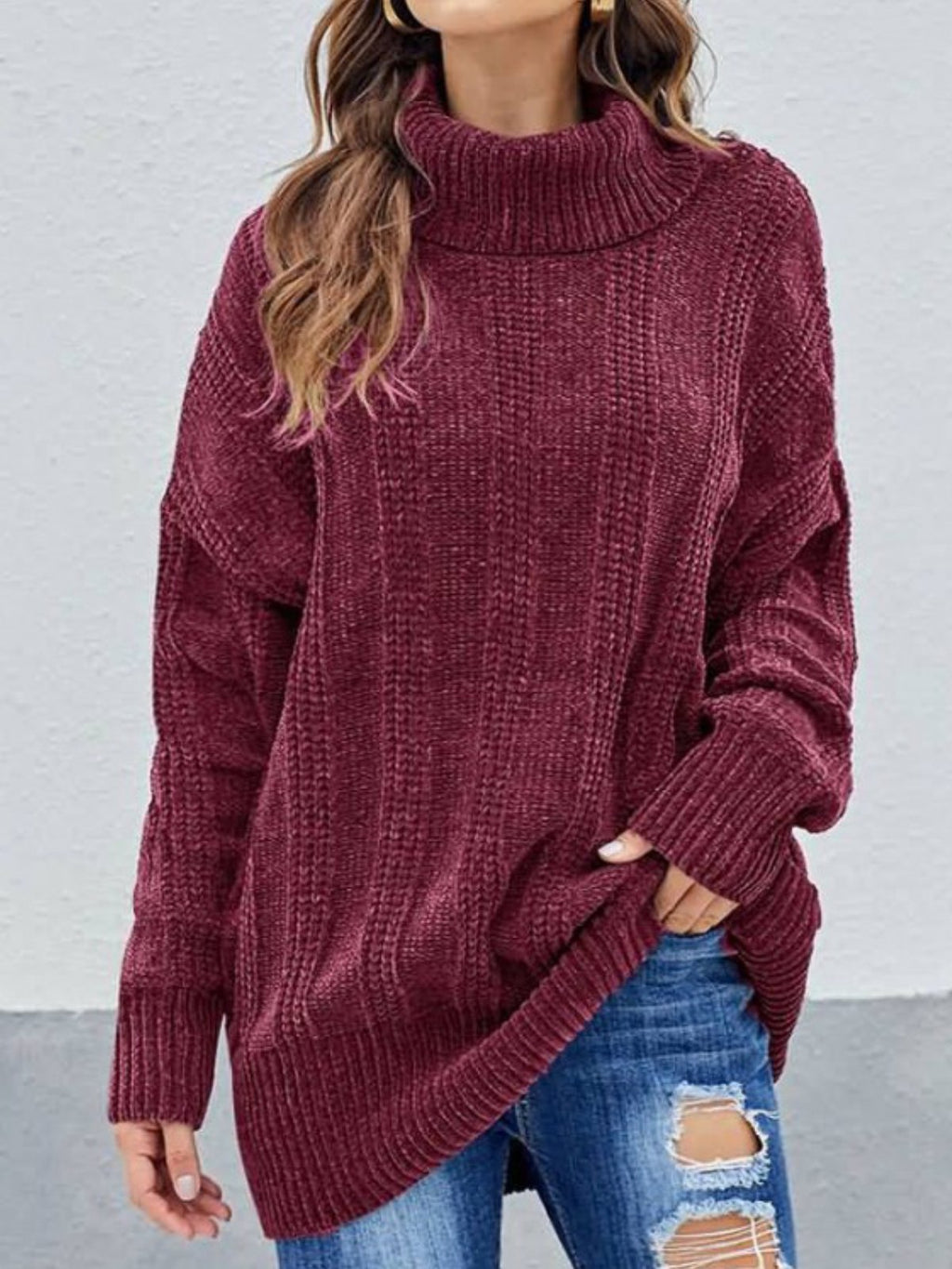Casual Plus Size Turtleneck Kintting Sweater