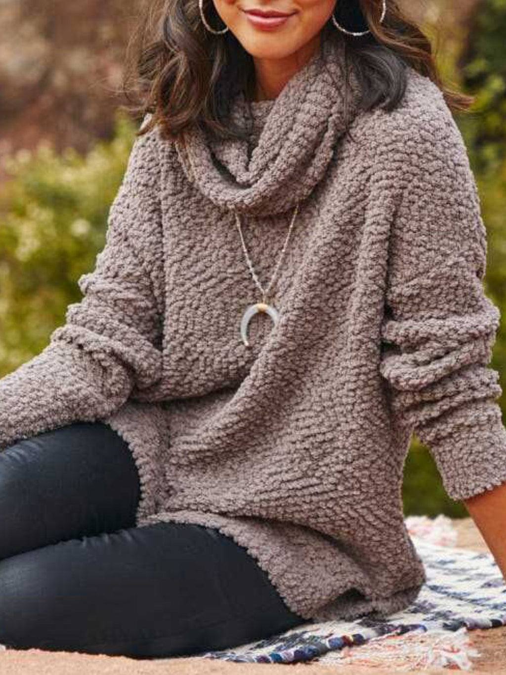 Casual Plus Size Cowl Neck Long Sleeve Sweater