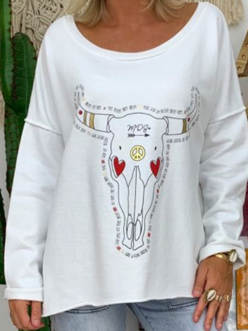 Casual Long Sleeve Printed T-Shirts