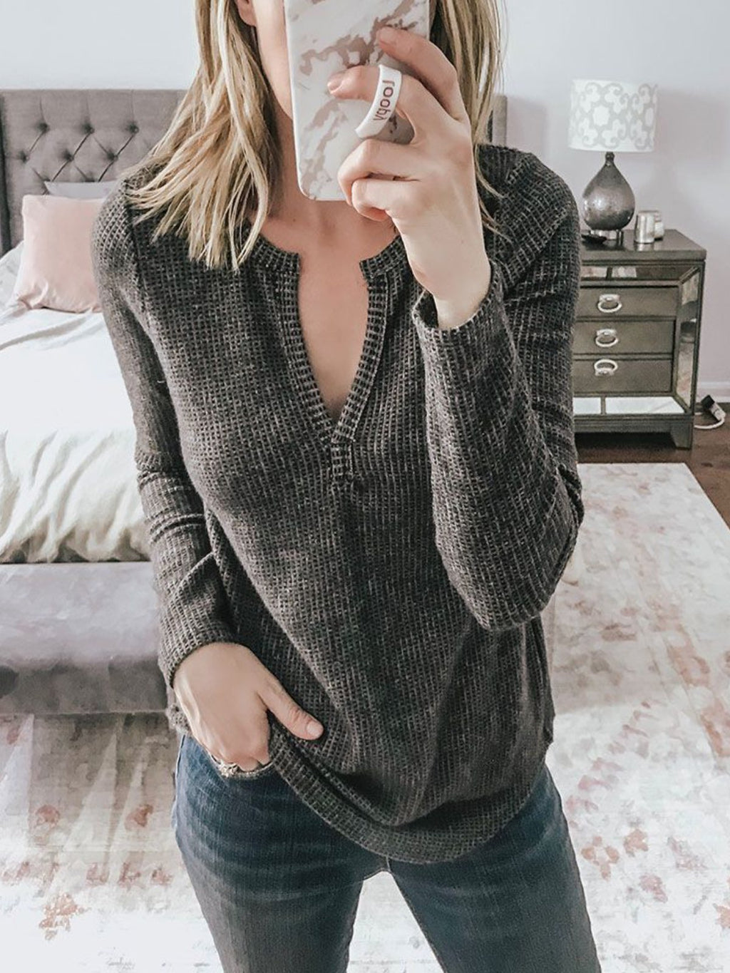 Black Solid Knitted V Neck Long Sleeve Shirts & Tops