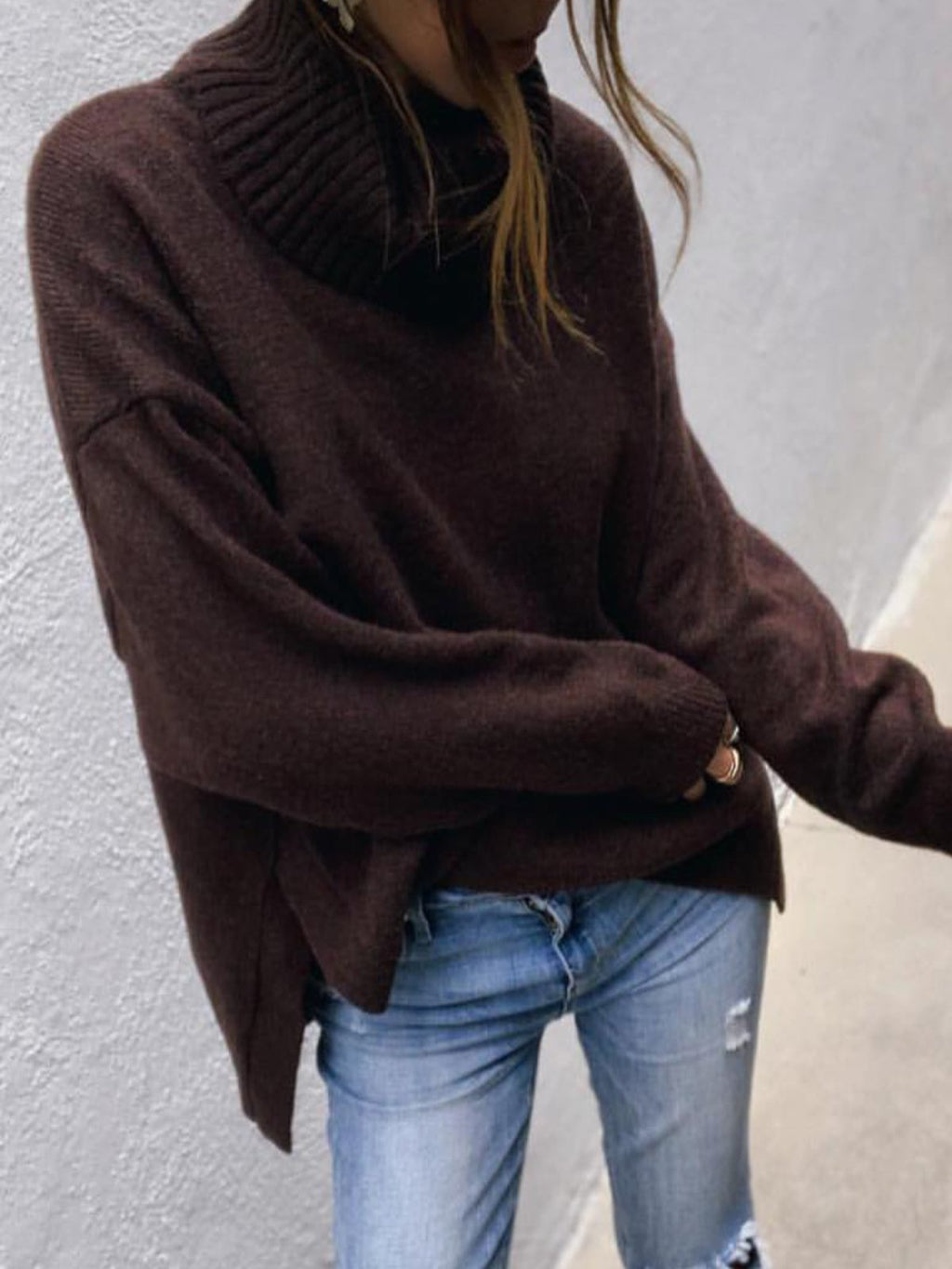 Black-Brown Turtleneck Casual Solid plus size Sweater