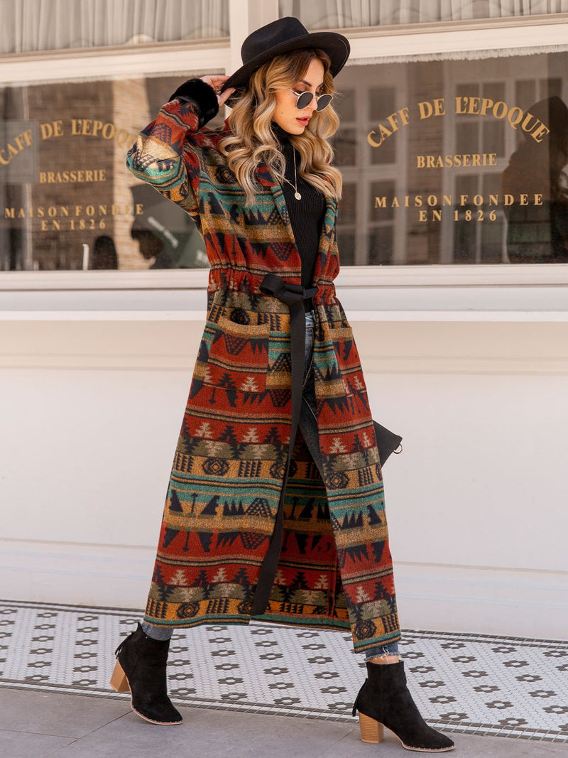 Women Lace Up Tribal Shawl Collar Boho Outerwear With Belt