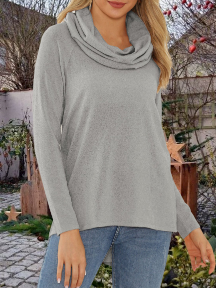 Long Sleeve Cowl Neck Shirts Blouses