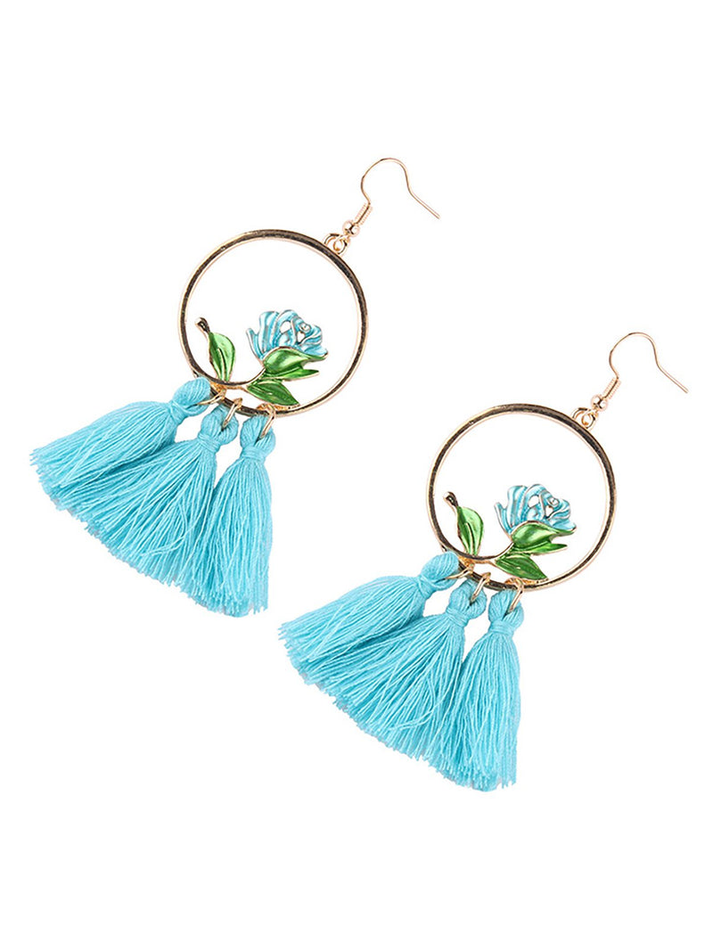 Womens Tassel Round Alloy Earrings