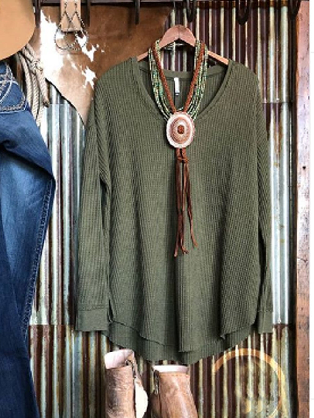 Plus Size Green Long Sleeve Knitted Shirts Tops