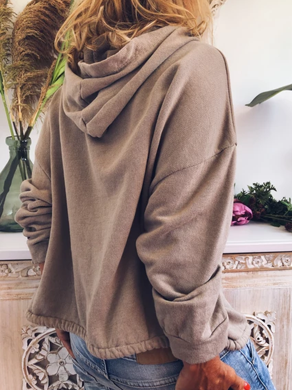 Beige Cotton Hoodie Casual Plus Size Sweatshirt