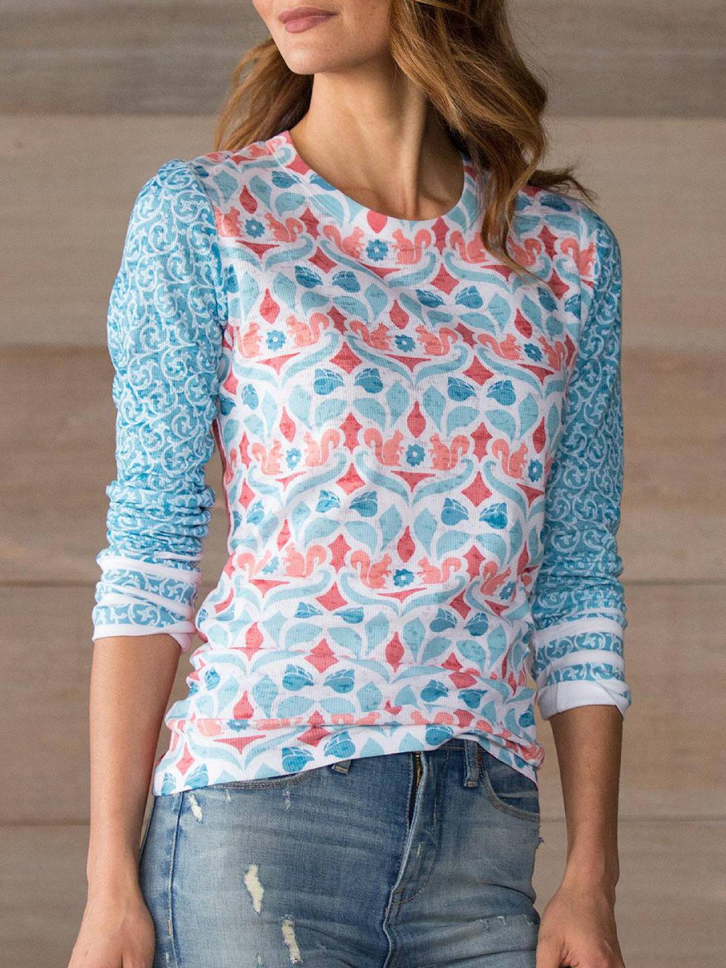 Blue Casual Floral Crew Neck Printed Plus Size Blouse